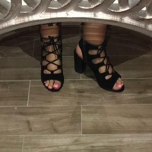 Black Steve Madden Lace up heels